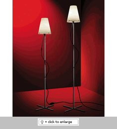 THUBANF1CHRD - SMALL FLOOR LAMP CHROME STEM REDCORD    The Thuban family of table, floor and reading lamps provide widespread light. Ideal for ambient lighting, as a desktop light (table lamp)or as a reading lamp (floor and floor major). High visual comfort    Materials | Steel structure, blown glass, fabric covered electrical cord