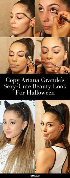 Ariana Grande is not only a music force to be reckoned with, but also a beauty one. Since the has entered the spotlight, she's become known for her Halloween Costume Videos, Halloween Hair, Diy Costumes, Halloween Ideas, Halloween 2015, Halloween Stuff, Costume Ideas, Ariana Grande Makeup Tutorial, Makeup Inspiration