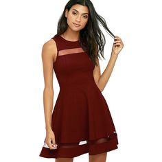 Sheer Determination Burgundy Mesh Skater Dress ($54) ❤ liked on Polyvore featuring dresses, red, sleeveless dress, red flared skirt, burgundy skater dress, red skater skirt and lulu's dresses