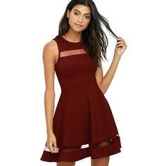Sheer Determination Burgundy Mesh Skater Dress ($54) ❤ liked on Polyvore featuring dresses, red, skater skirts, skater dress, red skater dress, red sleeveless dress and skater skirt dress