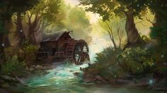The Old Mill by Huussii forest river trees forest woods stream abandoned building landscape location environment architecture   Create your own roleplaying game material w/ RPG Bard: www.rpgbard.com   Writing inspiration for Dungeons and Dragons DND D&D Pathfinder PFRPG Warhammer 40k Star Wars Shadowrun Call of Cthulhu Lord of the Rings LoTR + d20 fantasy science fiction scifi horror design   Not Trusty Sword art: click artwork for source