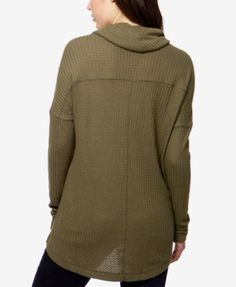Lucky Brand Cowl-Neck Thermal Top - Olive Night XS