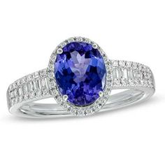 Oval+Tanzanite+and+1/3+CT.+T.W.+Diamond+Ring+in+14K+White+Gold