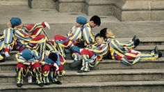 Children in #Vatican Guard costumes succumb to #sleep during #Pope #Francis's visit to #Manila, #Philippines
