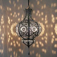 Orientalische Lampe Marokkanische Laterne Hängelampe Metall  Yamina  SILBER