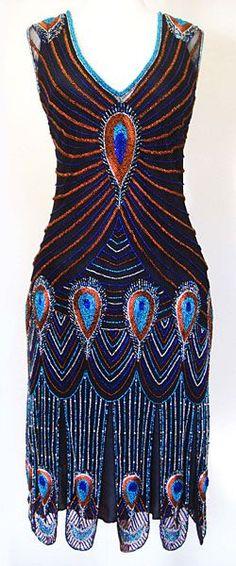 peacock flapper dress | 1920s Vixen peacock flapper dress - If only! | Peacock inspiration