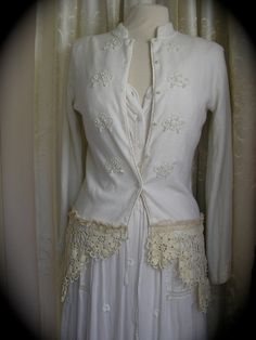 Beaded Shabby Sweater creme altered couture by TatteredDelicates, $65.00