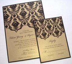 Wedding, Invitations, Black, Gold, Damask, Flourish, Brocade, Decorative