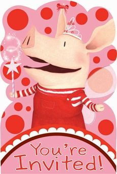 Olivia the Pig Party Invitations 8 Pack. Come to my birthday party!