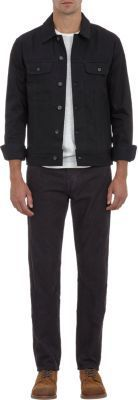 $275, Black Denim Jacket: Rag and Bone Rag Bone Harrow Denim Jacket. Sold by Barneys New York. Click for more info: https://lookastic.com/men/shop_items/253324/redirect