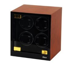 Quad Automatic Watch Winder Black Solid Wood W/LCD Display 544EVR