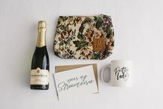 Vintage floral cosmetic bag, champagne, pretty lady mug and be my bridesmaid card# Bridesmaid Boxes, Bridesmaid Proposal Box, Be My Bridesmaid Cards, Bridesmaids, Gift Boxes For Women, Dream Wedding, Wedding Day, Something Beautiful, Vintage Floral