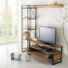 image TV cabinet, solid oak and steel, Hiba La Redoute Interiors