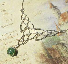 celtic knot silver & green quartz necklace