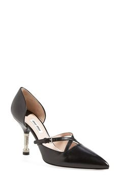 "Free shipping and returns on Miu Miu Bolt Heel d'Orsay Pump (Women) at Nordstrom.com. 3 1/2"" heel.<br>Leather upper, lining and sole.<br>By Miu Miu; made in Italy.<br>Salon Shoes."