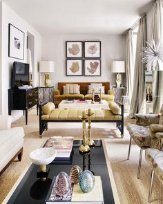 Chic city living . . . with a lot of conversation conducive seating in narrow room