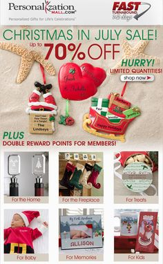 It's PMall's Christmas in July Sale! You can save up to 70% off Personalized Christmas Ornaments, Stockings and so much more! PLUS Rewards members get DOUBLE rewards points this week! Hurry over to PMall here: http://www.personalizationmall.com/Category.aspx?categoryID=1630=9=264035 #Christmas #Sale