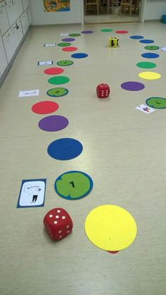 Fun gross motor board game idea for preschool and early elementary.