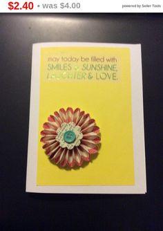 Store Closing 3D Flower Greeting Card handmade greeting by EMTWTT
