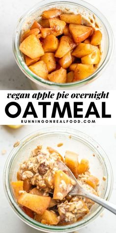 These apple pie overnight oats taste like apple pie in a jar. Enjoy these year round but especially in the Fall when apples are in season and abundant. This recipe is vegan, gluten-free and refined sugar-free. Vegan Gluten Free Breakfast, Healthy Breakfast Options, Vegan Breakfast Recipes, Apple Recipes, Easy Healthy Recipes, Real Food Recipes, Dinner Recipes, Breakfast Ideas, Free Recipes