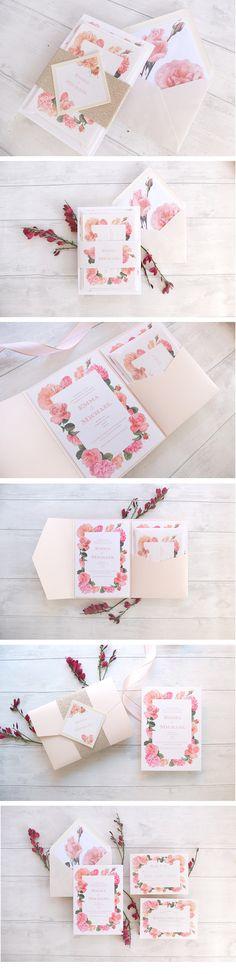 Floral pink wedding invitation suite