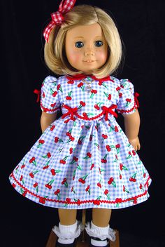 American Girl Dress, American Girl Spring dress, American Girl Blue checks, American Girl 1930, 1940. by ADollsFancy by ADollsFancy on Etsy