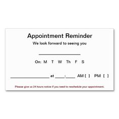 389 best appointment reminder business cards images on pinterest in appointment reminder cards 100 pack white business card templates business card templates flashek Image collections