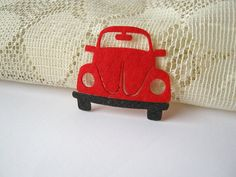 Felt applique, Iron on Applique Lovely Red Beetle, Red Volkswagen kid, woman, toy, baby shower, bag supply, shirt decoration, via Etsy