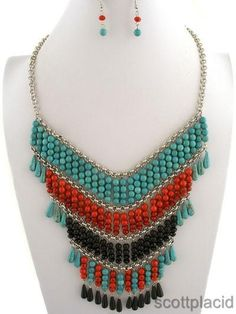 """CHUNKY 5.5"""" LONG MULTI COLOR STONE AND ACRYLIC SILVER TONE NECKLACE SET     * If you need a necklace extender I have them for sale in my store.*         NECKLACE: 16"""" L + EXT       HOOK EARRINGS           COLOR: MULTI AND SILVER TONE $27.99"""