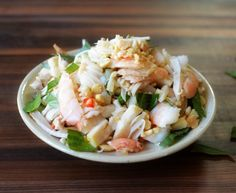 Young jackfruit and shrimp salad with Thai basil. A Viet dish that's light a great for summer.