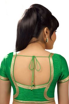 Light #green festive wear alluring raw silk #blouse with cap sleeves -BL637