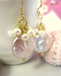 Lustrous creamy mauve coin pearl ivory pearl cluster by KBlossoms, $48.00