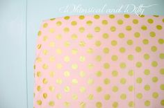 Pink and Gold Polka Dot Baby Bedding Crib by WHIMSICALandWITTY