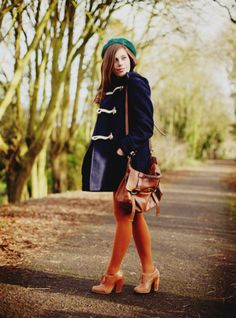 orange tights- love the combo with navy/green