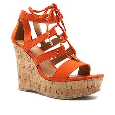 Qupid Orange Lace-Up Clemence Wedge Sandal ($20) ❤ liked on Polyvore featuring shoes, sandals, orange platform shoes, lace-up sandals, platform wedge sandals, qupid shoes and lace up platform sandals