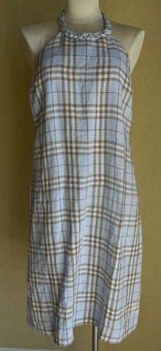 Burberry Blue Nova Plaid Check Linen Halter Dress - LOVE LOVE LOVE!