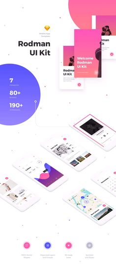 Rodman Mobile UI Kit #chat #colorful #design system • Available here ➝ https://themeforest.net/item/rodman-mobile-ui-kit/20800535?ref=pxcr
