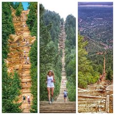 """""""The Manitou incline hiking trail near Colorado Springs gains over 2,000 feet (610 m) of elevation in less than one mile. One hidden gem in Colorado!…"""""""