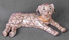 Porcelain Pink Dog Statue