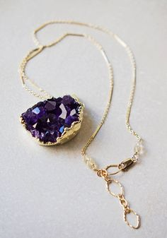 Amethyst Cluster Necklace - Pendant edged in 24kt Gold - Gold Filled Chain. 95.00, via Etsy.