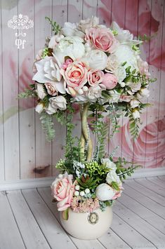 Shabby Chic Home Decor Shabby Chic Crafts, Shabby Chic Decor, Paper Flowers Diy, Flower Crafts, Flower Decorations, Wedding Decorations, Topiary Centerpieces, Shabby Chic Furniture, Diy Painting
