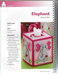 ELEPHANT  1/3 Plastic Canvas Stitches, Plastic Canvas Tissue Boxes, Plastic Canvas Crafts, Plastic Canvas Patterns, Elephant Pattern, Elephant Design, Elephant Crafts, Craft Sites, Tissue Box Covers