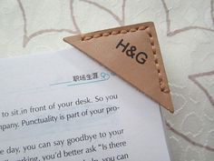 Personalized Leather Bookmark Corner,Custom Engraved Bookmark,Leather Gift (R)