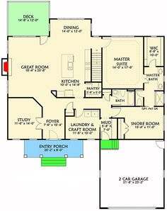 Country Craftsman House Plan - 500025VV | Architectural Designs - House Plans - Main floor