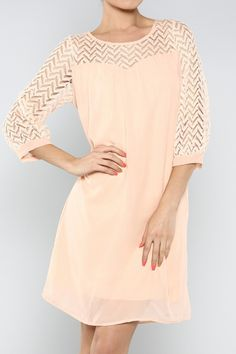 Lace Sleeve Chiffon Dress in Peach