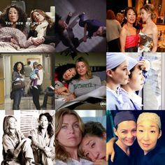 Cristina (Sandra Oh) and Meredith (Ellen Pompeo) Cristina And Meredith, Meredith Grey, Derek Shepherd, Sandra Oh, Ellen Pompeo, Grey's Anatomy, Beautiful Day, Tv Shows, Core