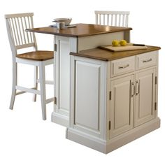You Should See This Woodbridge 3 Piece Kitchen Island & Stool Set Set In White…