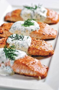 Grilled salmon with creamy dill sauce