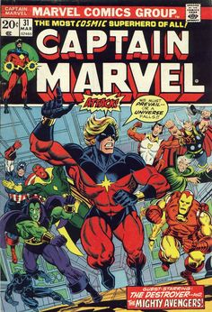 Captain Marvel Vol 1 31 - Marvel Comics Database Old Comic Books, Marvel Comic Books, Comic Book Artists, Comic Book Covers, Comic Book Characters, Marvel Characters, Comic Character, Marvel Dc Comics, Old Comics
