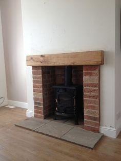 Most up-to-date Snap Shots oak Fireplace Remodel Thoughts Brick, tile and oak fireplace Living Room Decor Fireplace, Brick Fireplace Log Burner, Farm House Living Room, Oak Fireplace, Brick Hearth, Wood Burner Fireplace, Exposed Brick Fireplaces, Brick Fireplace Makeover, Fireplace Remodel